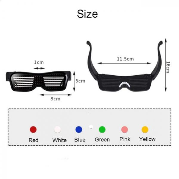 Γυαλιά Bluetooth Led συνδεδεμένα με smartphone χρώματα και μεγέθη