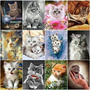 Ζωγραφική με διαμάντια σε 5d μοτίβο με γάτες
