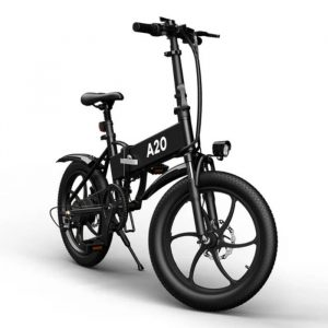 μαύρο ηλεκτρικό ποδήλατο με πολλά χαρακτηριστικά